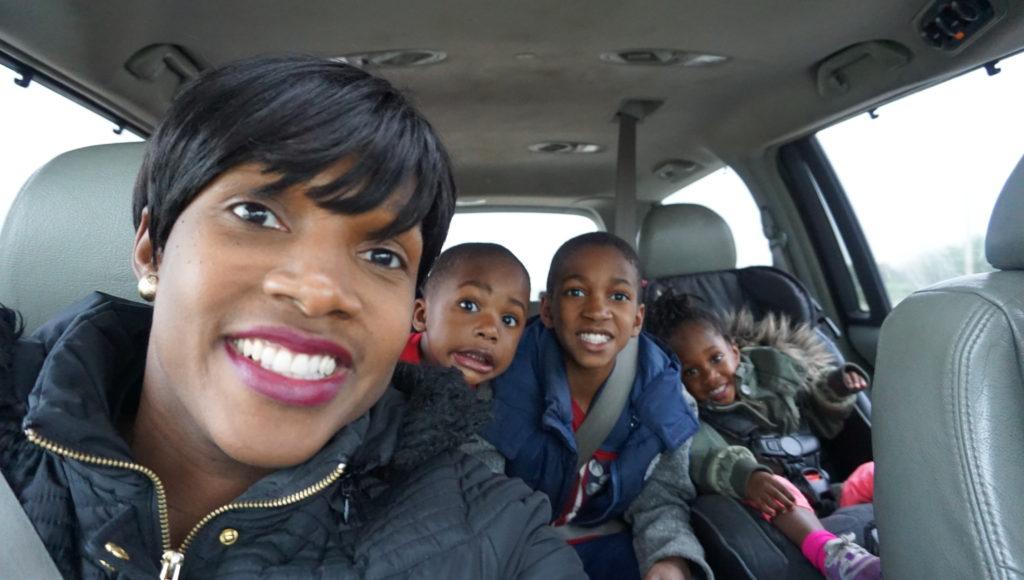 me and kids in van on my bday